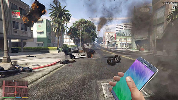 Exploding Galaxy Note 7 in GTA V Grand Theft Auto 5