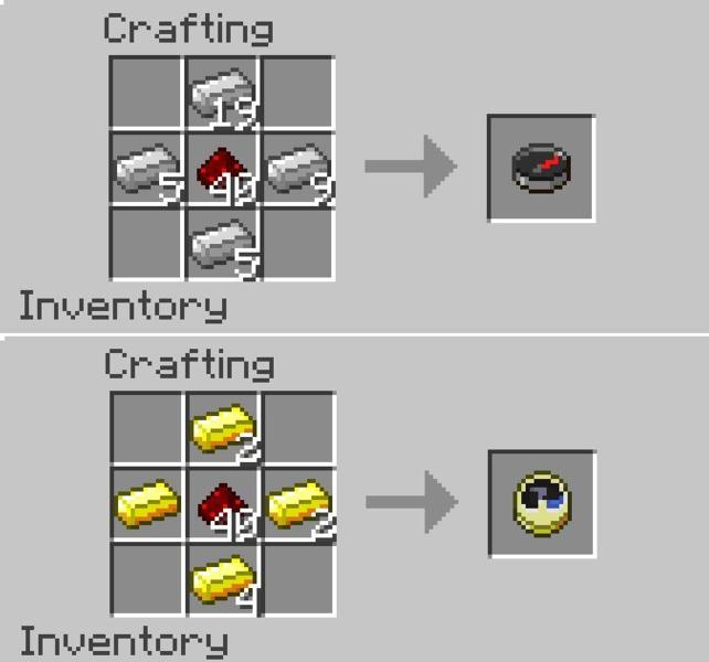 minecraft crafting how to make a compass